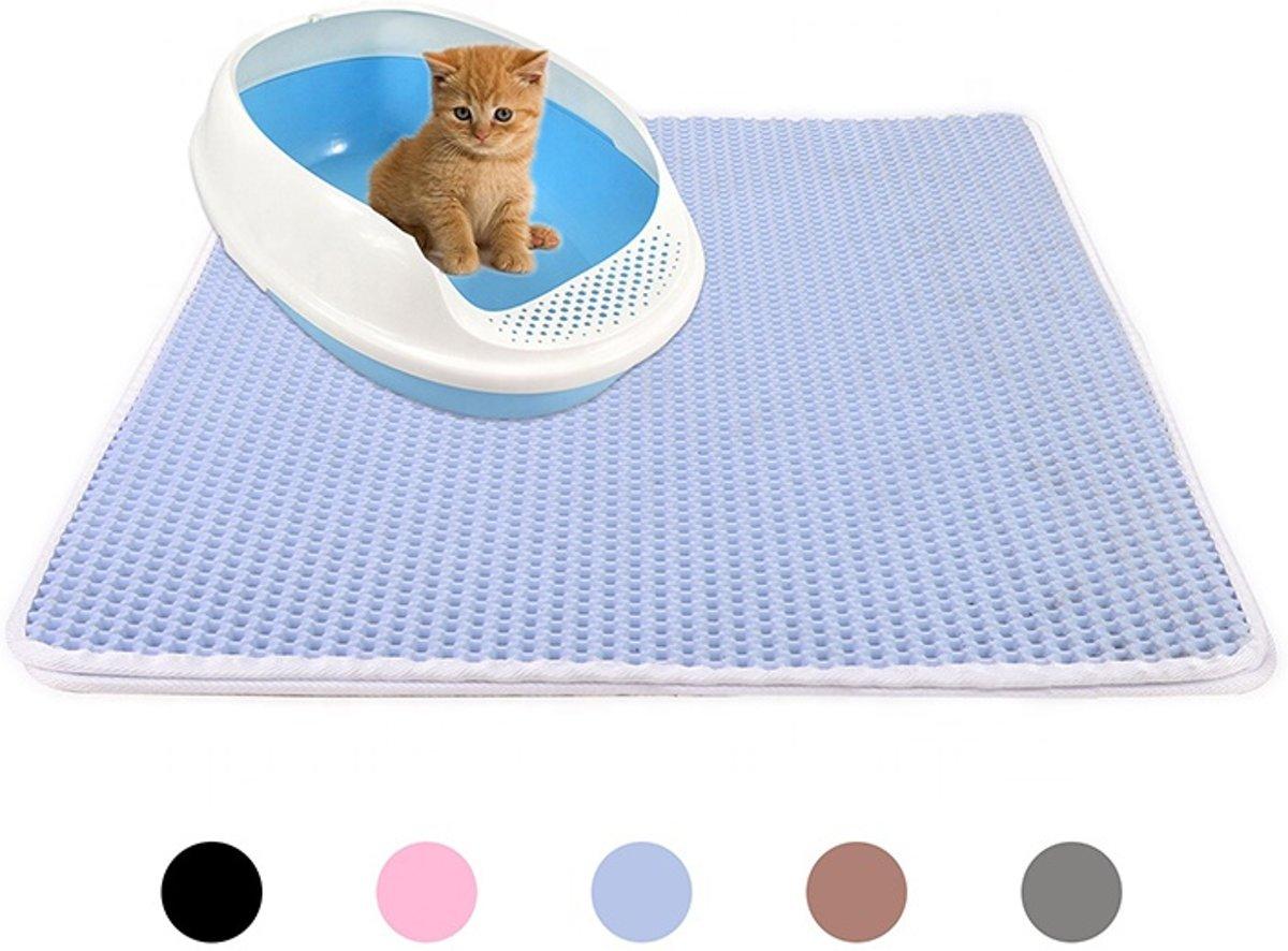 Handige Kattenbak Mat - Grit Opvanger - Dubbellaags & Waterdichte mat voor Katten - Katten Mat met Filter voor Grit - Kattenbak Mat voor Kattenbak - Blauw kopen