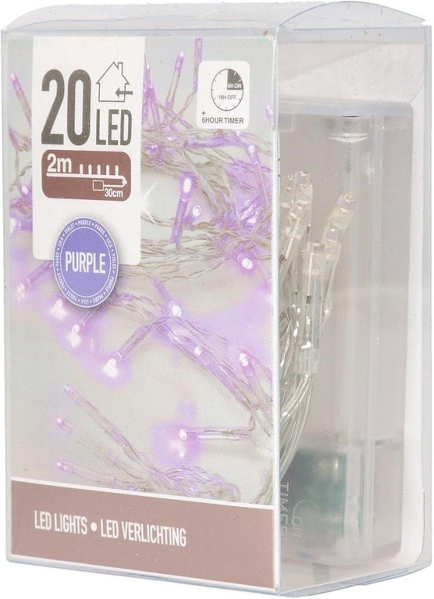 Clusterverlichting op batterij paars binnen kopen