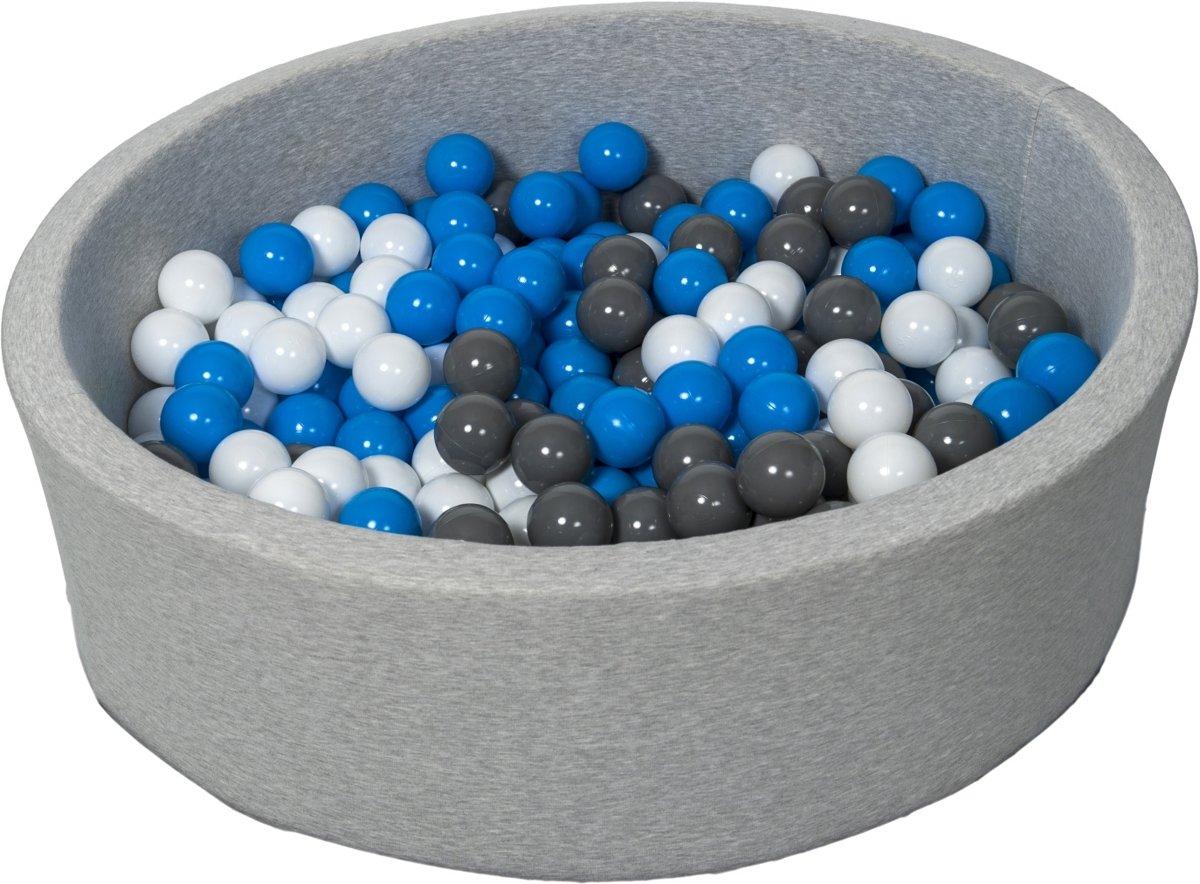 Zachte Jersey baby kinderen Ballenbak met 300 ballen,  - wit, blauw, grijs