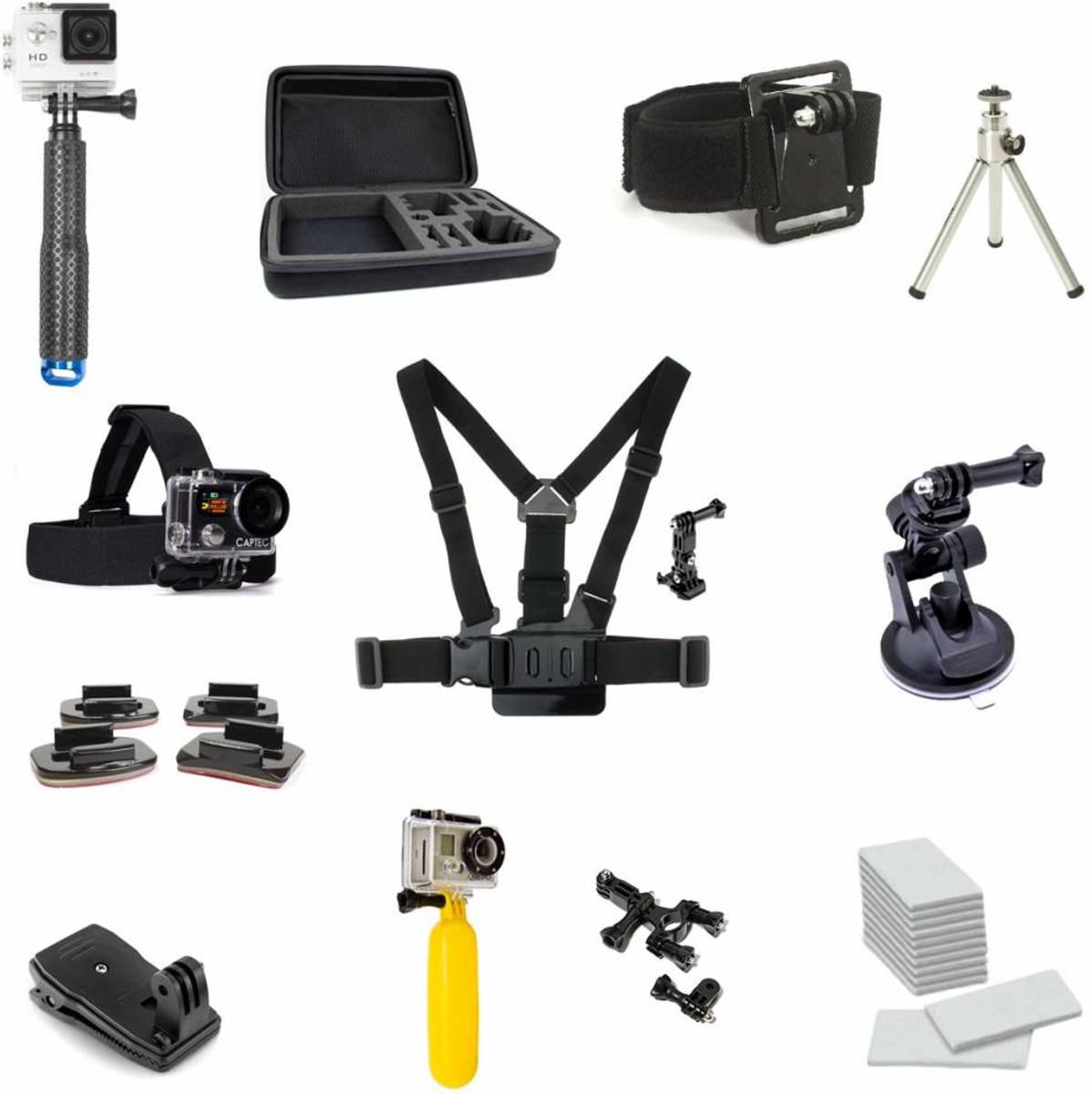 Captec - Gopro accessoires set - 10 - Uitgebreid Gopro Accessoires Kit - Met luxe GoPro Selfiestick Monopod - Geschikt voor o.a. GoPro Hero Accessoires - Gopro accessoires set hero 5 kopen