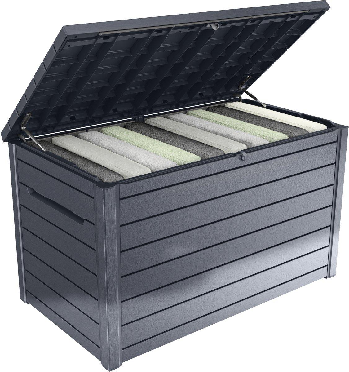 Keter - Ontario - Opbergbox - Kunststof kist - Hout look - 870L - 148x83x86 cm - Antraciet