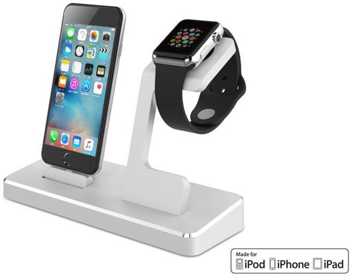 iParts4u Docking Station iPhone iPad Apple Watch MFI Zilver kopen