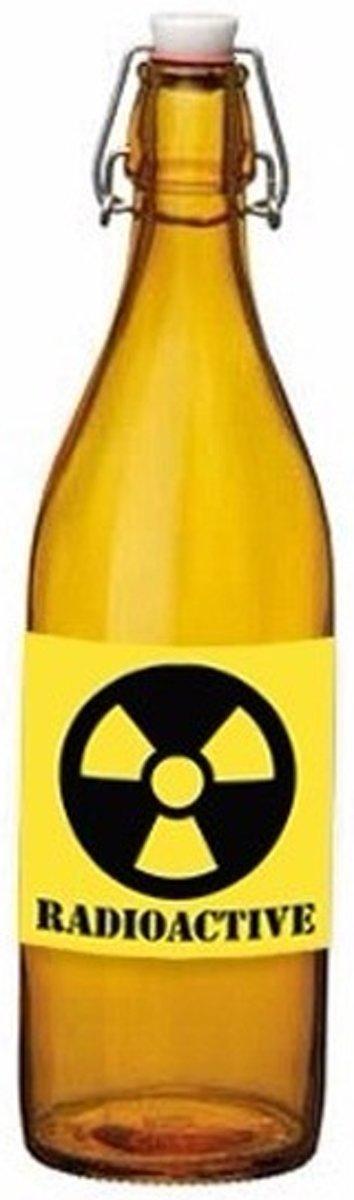 Oranje fles met radioactieve drank met beugeldop - Halloween / horror versiering