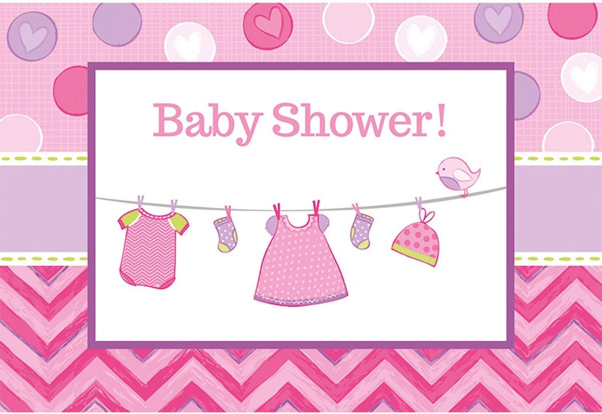 Geboorte Uitnodigingen Baby Shower Meisje 8 stuks