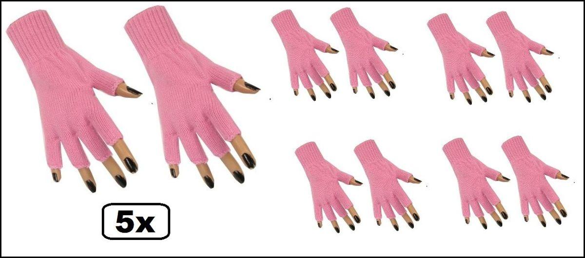 5x Paar vingerloze handschoen baby roze