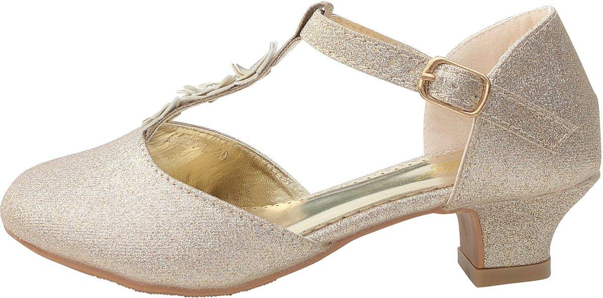 Spaanse Prinsessen schoenen Flores goud glitter - bruids schoenen - communie - maat 24 (binnenmaat 16 cm) bij jurk