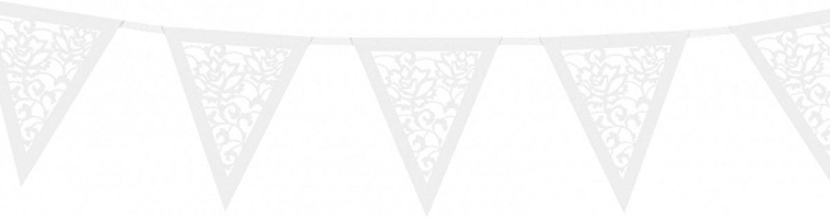 Papieren rozen vlaggenlijn wit 3 meter - Huwelijk / bruiloft slingers