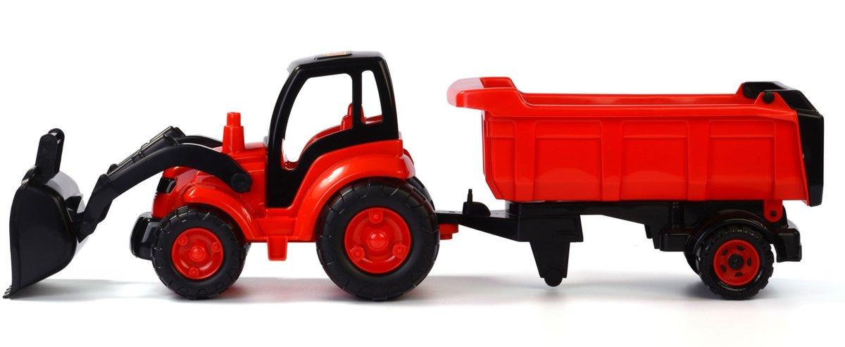 Polesie Tractor met Voorlader en Aanhanger