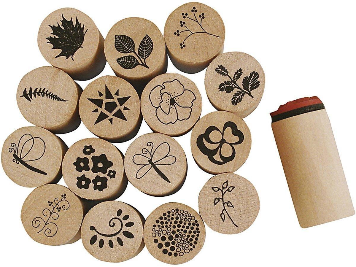 Deco Art Stempels, d: 20 mm, h: 26 mm, bloemen en bladeren, 15stuks