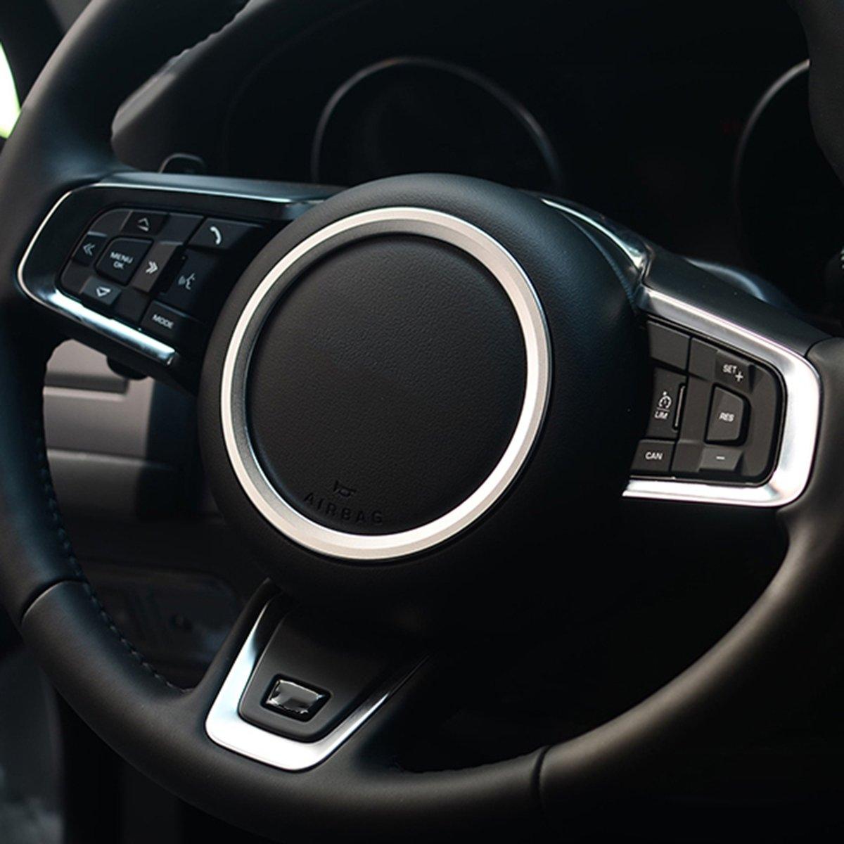 Auto Auto Stuurwiel Aluminium Ring Cover Trim Sticker Decoratie voor Jaguar (zilver)