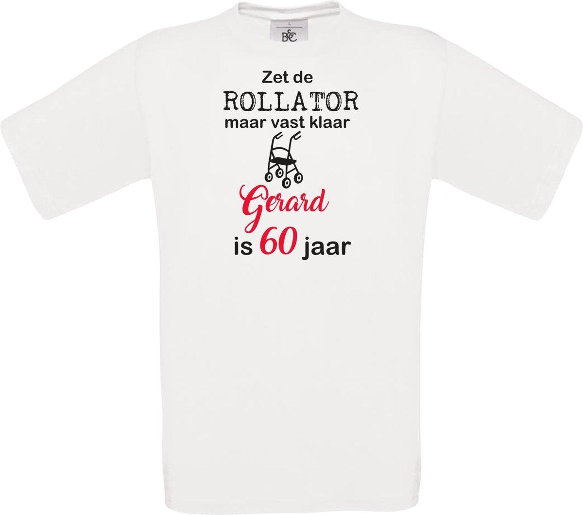 T-shirt - unisex - Zet de rollator maar vast klaar - met voornaam - 60 jaar - wit - maat XL