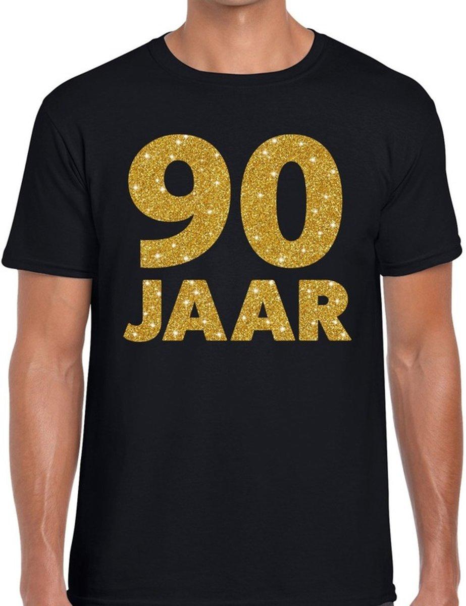90 jaar goud glitter verjaardag t-shirt zwart heren - verjaardag shirts S