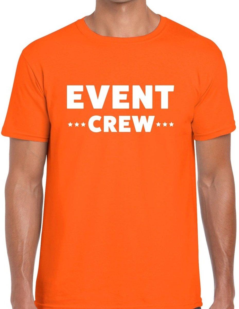 Event crew tekst t-shirt oranje heren - evenementen staff  / personeel shirt 2XL