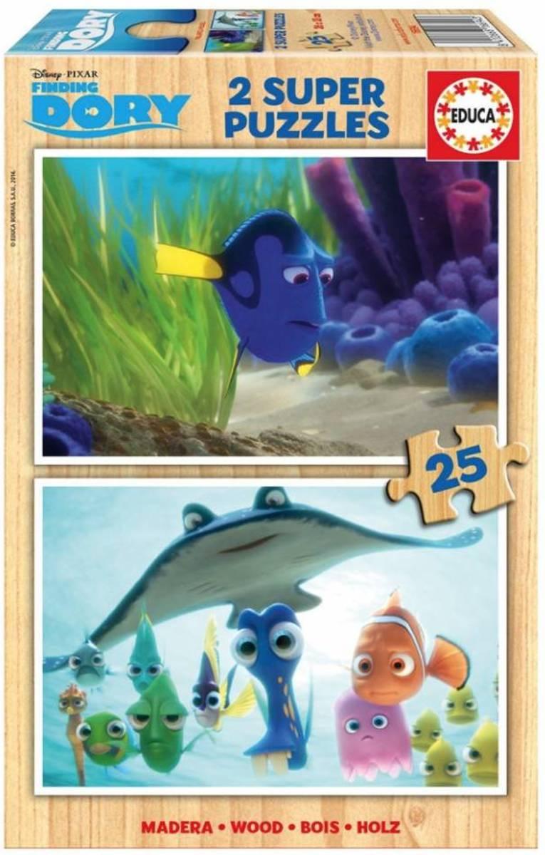 Educa HOUT: Finding Dory - 2 x 25 stukjes