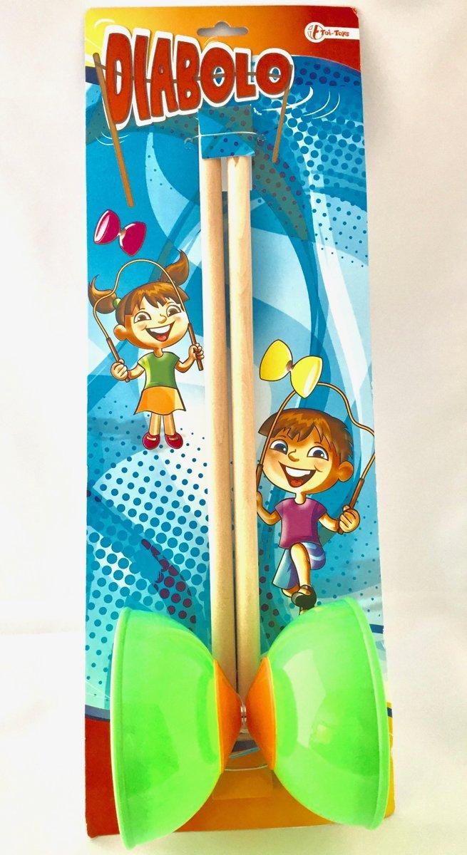Kunststof Diabolo 10cm Groen Toi-Toys met houten stokjes