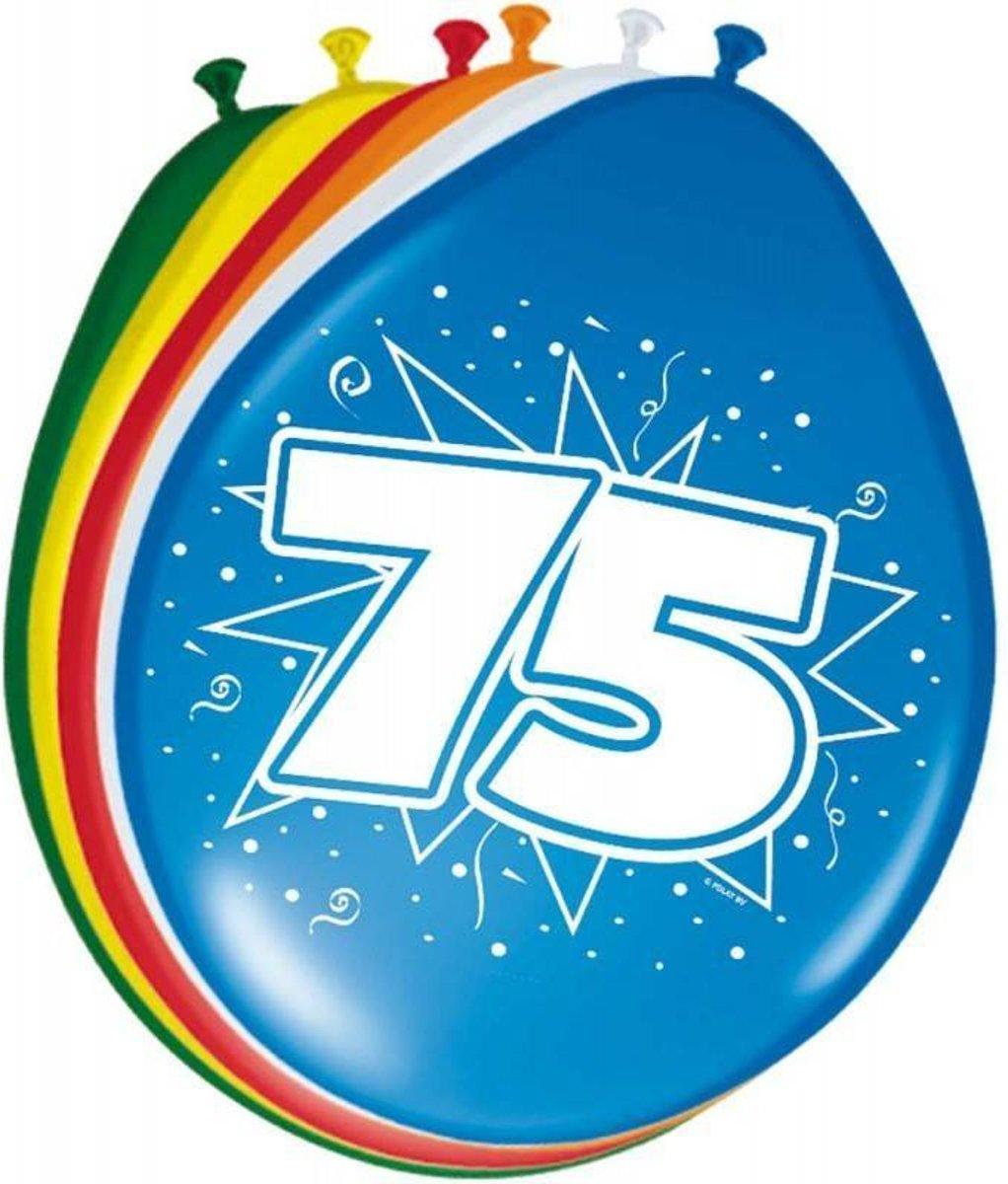 75 Jaar Ballonnen 30cm 8 stuks