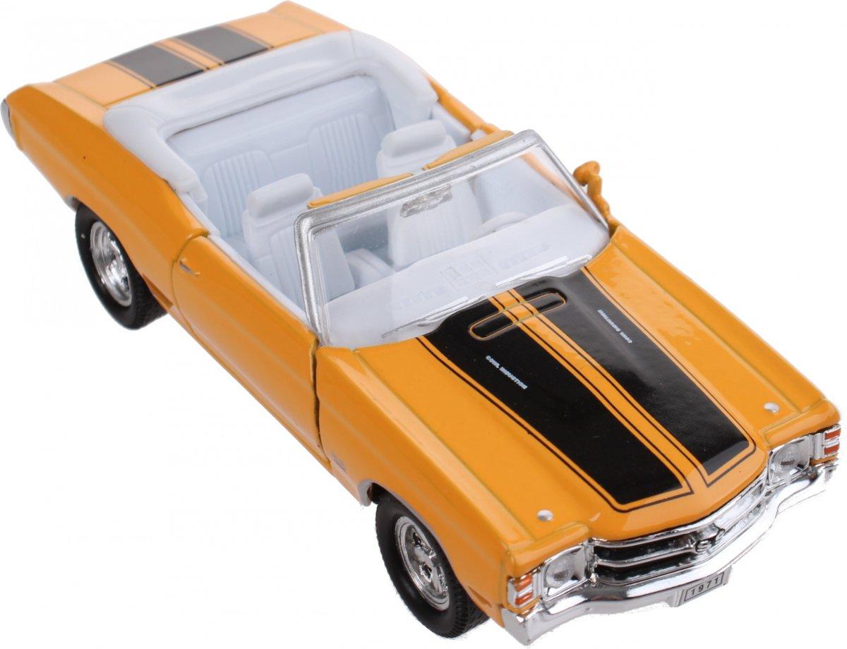 Toi-toys Schaalmodel Chevrolet 1971 Chevelle Ss 454 1:34 Geel 12 Cm