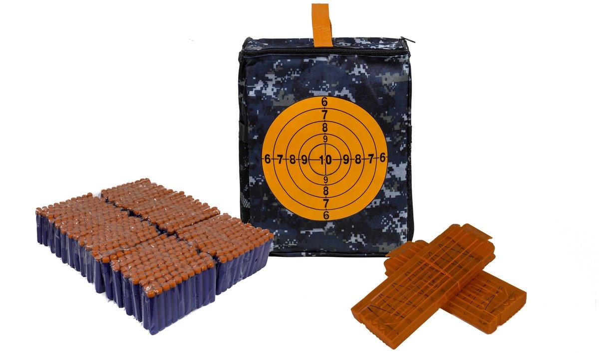 Softdart target box pakket- 2x Groot Doorzichtig Magazijn - incl. 600 Foam Darts - (Geschikt Voor Nerf Wapens)
