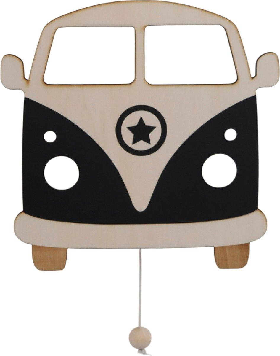 Houten muziekdoosje baby Retro Bus zwart - Mozarts lullaby - Roozje