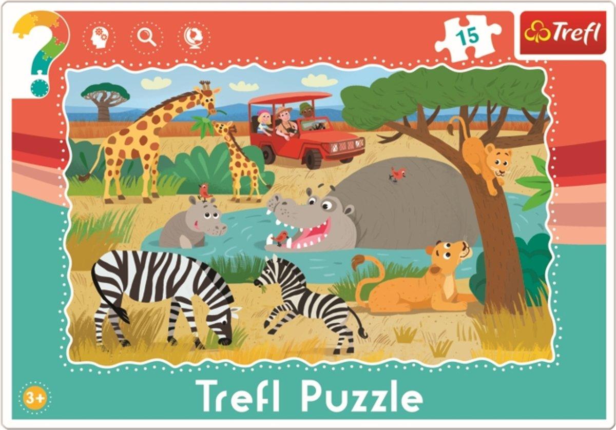 Framepuzzel  - Safari, 15 stukjes Puzzel
