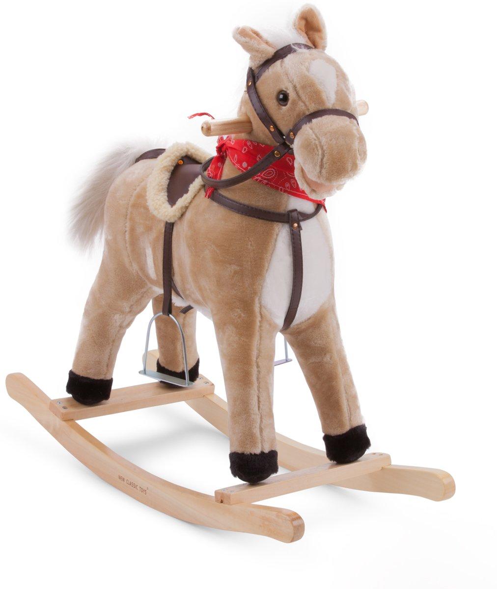 New Classic Toys - Hobbelpaard - Lichtbruin - Zithoogte is 50 cm - Maakt Geluid