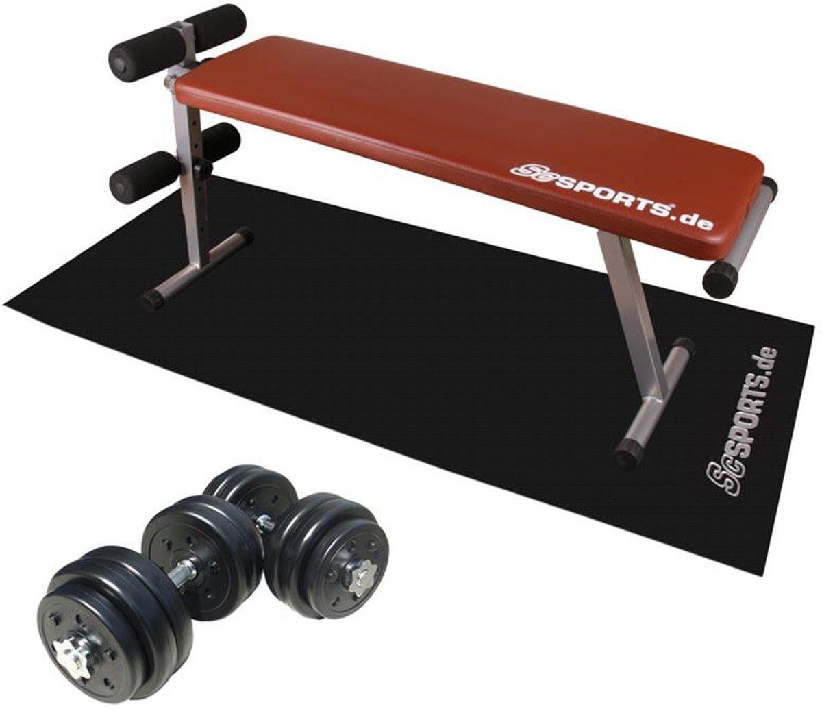 ScSPORTS® Sit-up Trainingsbank met 30 kg Luxe Halterset en Onderlegmat kopen