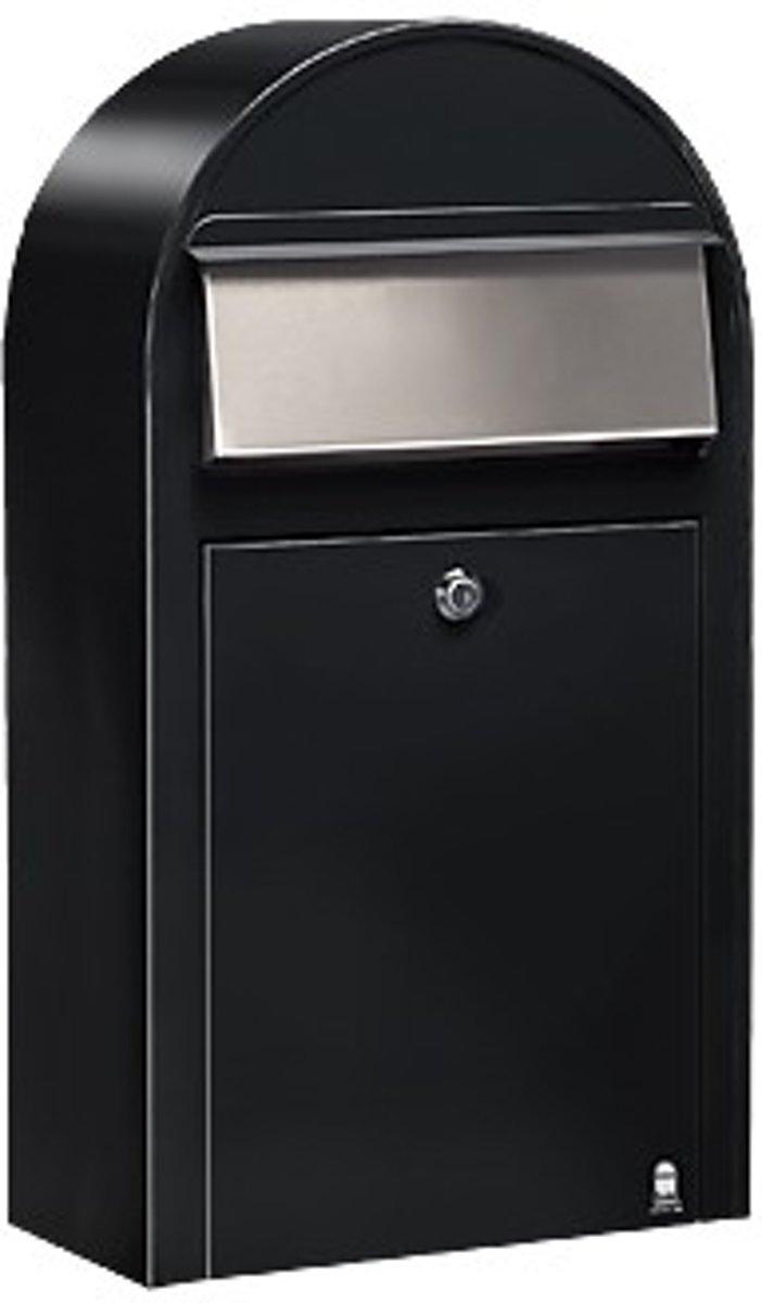 Brievenbus Bobi Grande S (Slim) Zwart Structuur / RVS Klep