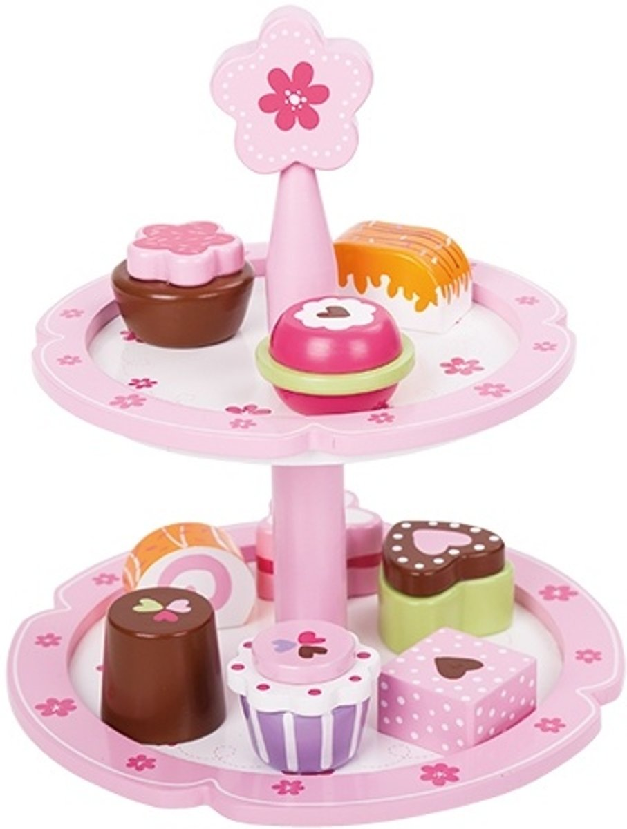 Houten speelgoed etagere met 9 gebakjes