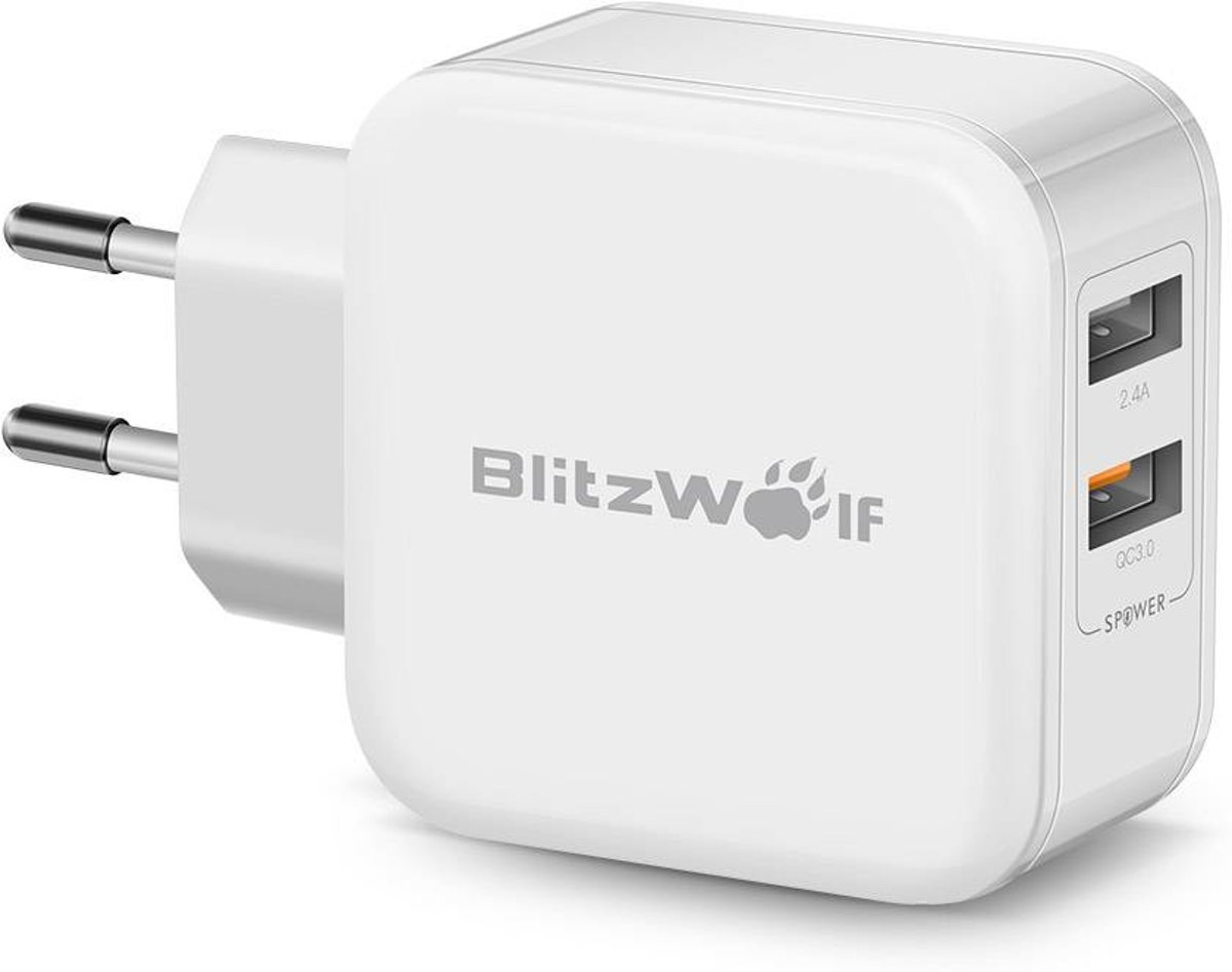 BlitzWolf™ USB Oplader Met Quick Charge 3.0 & Power3S Tech Wit kopen