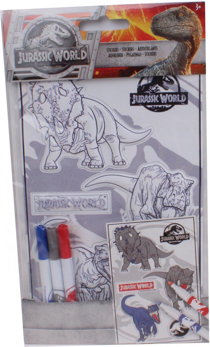 Slammer Jurassic World Inkleur Stickers 3d Blauw/rood/grijs