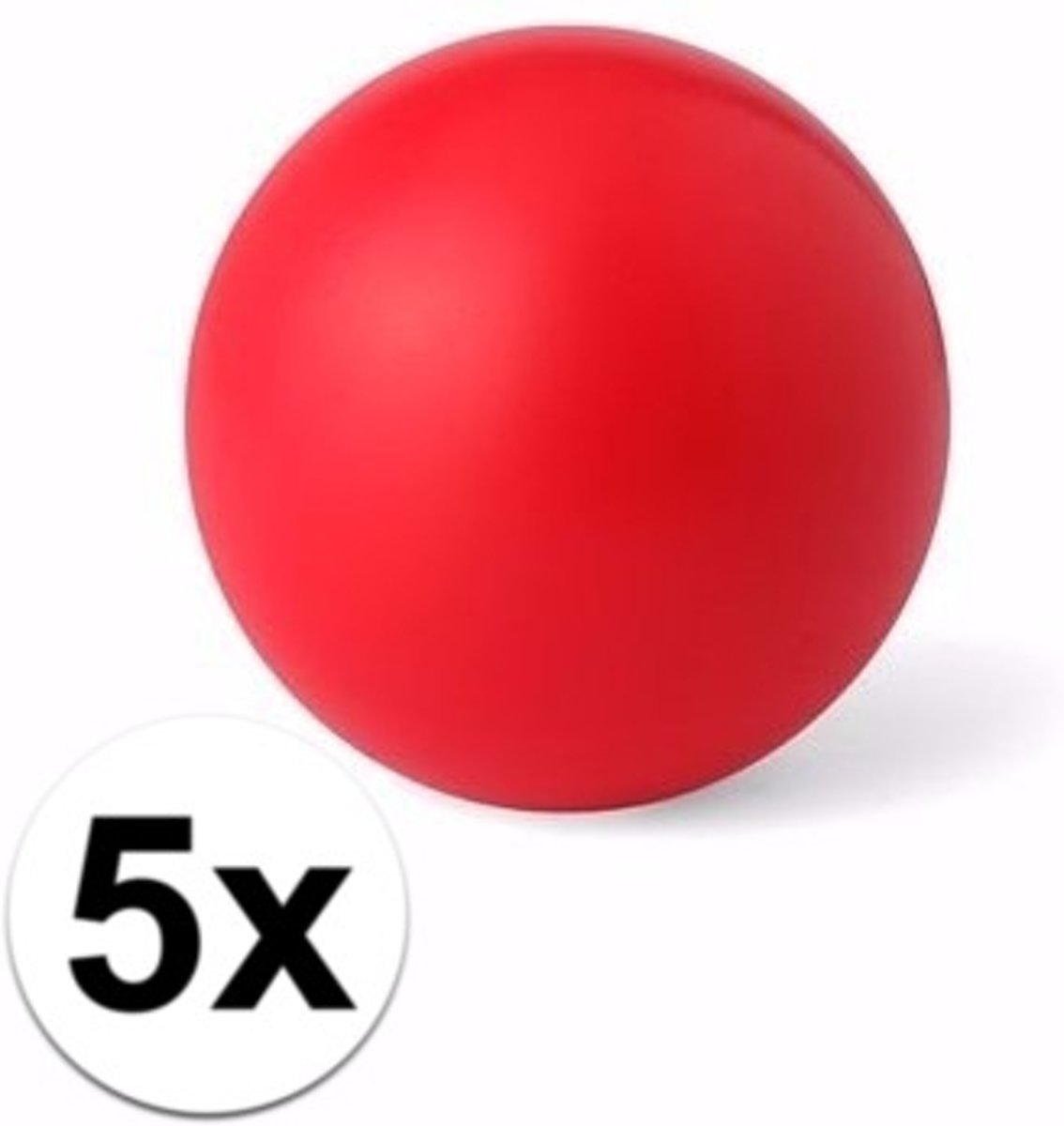5 rode anti stressballetjes 6 cm - stressbal kopen