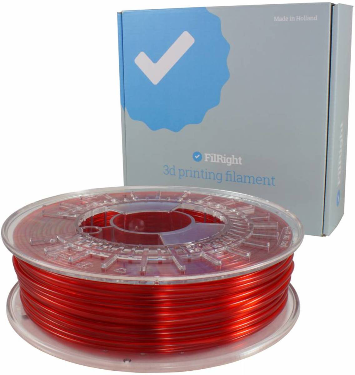 FilRight Pro PETG - 2.85mm - 750 g - Rood transparant