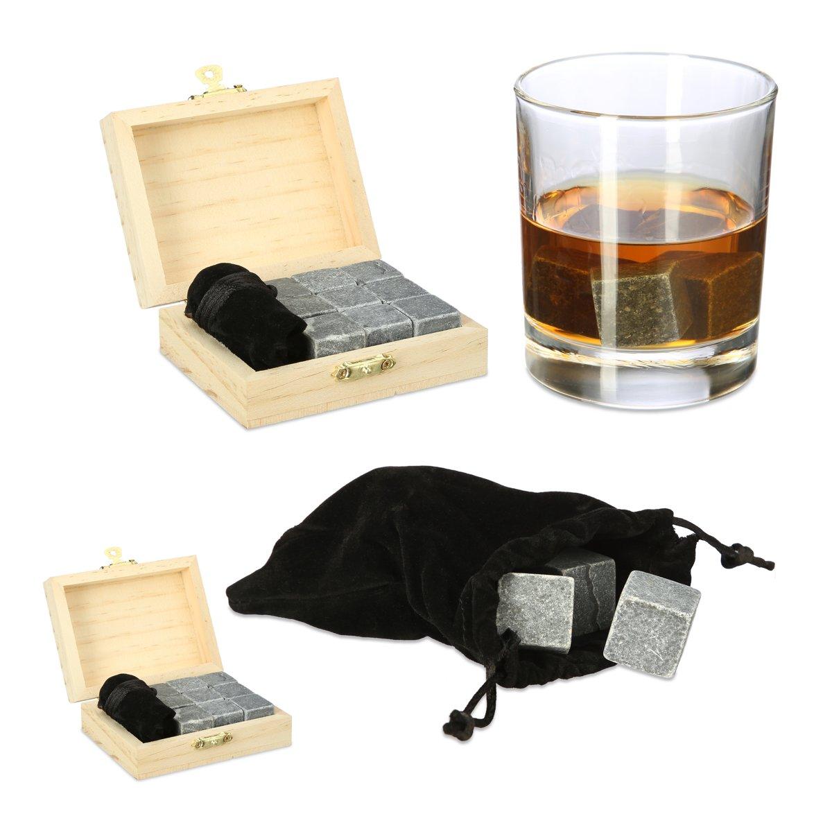 relaxdays 18 x Whiskey stenen - herbruikbare ijsblokjes - whiskeystenen kistje antraciet kopen
