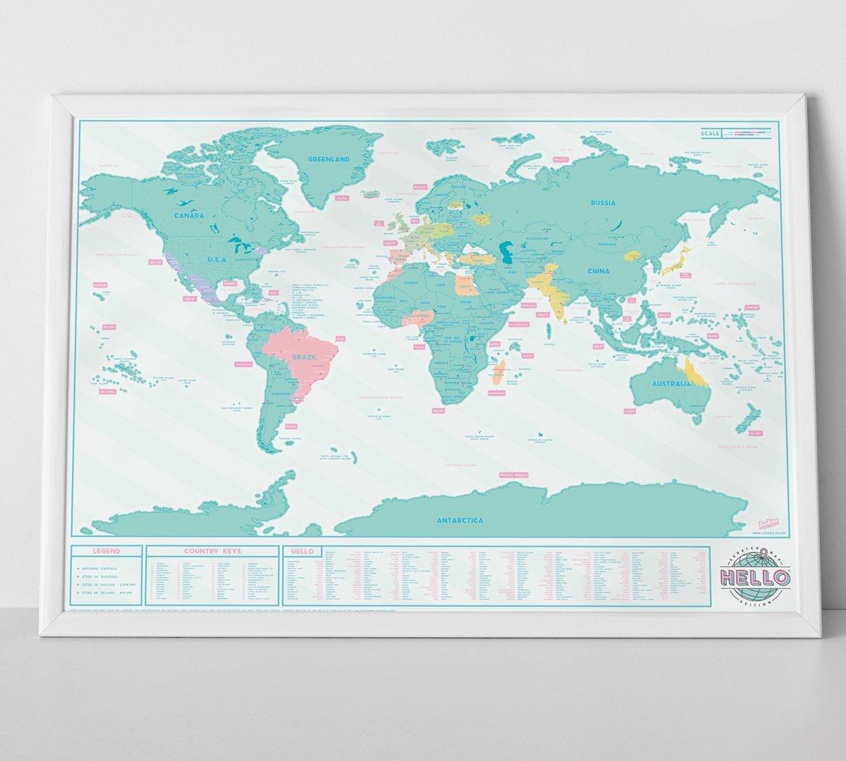 Wereld Kras Kraart Hallo - Scratch Map Hello Edition