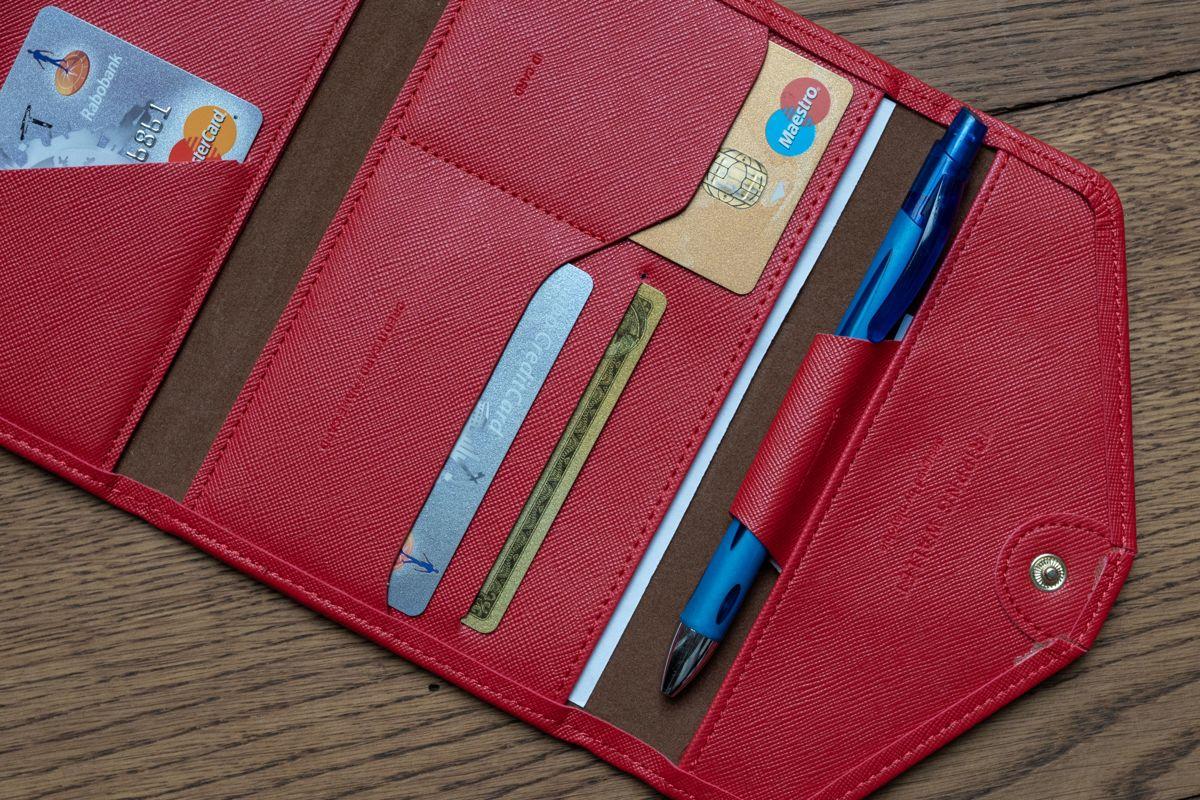 Luxe Reis Portemonnee Rood Leder   Travel organizer   Paspoort houder   Creditcard houder   Reisportefeuille