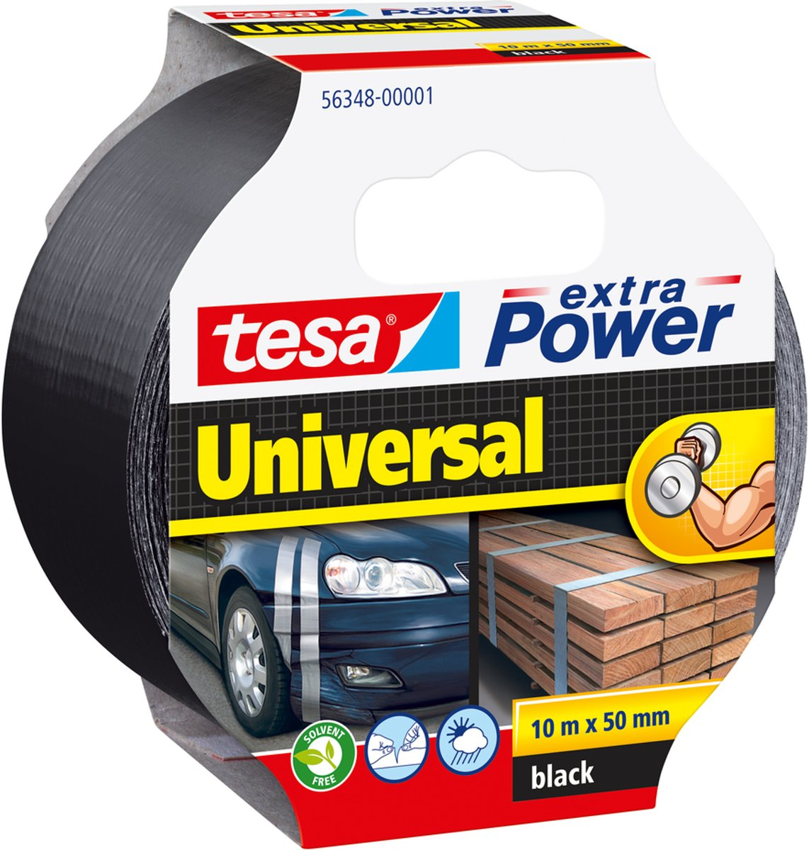 Tesa Extra Power Universal - Tape - 10 m x 50 mm - Zwart