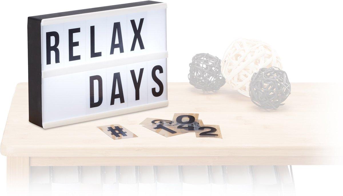 relaxdays lightbox - LED - met 60 letters, symbolen, getallen - wit - lichtbak - decoratie kopen