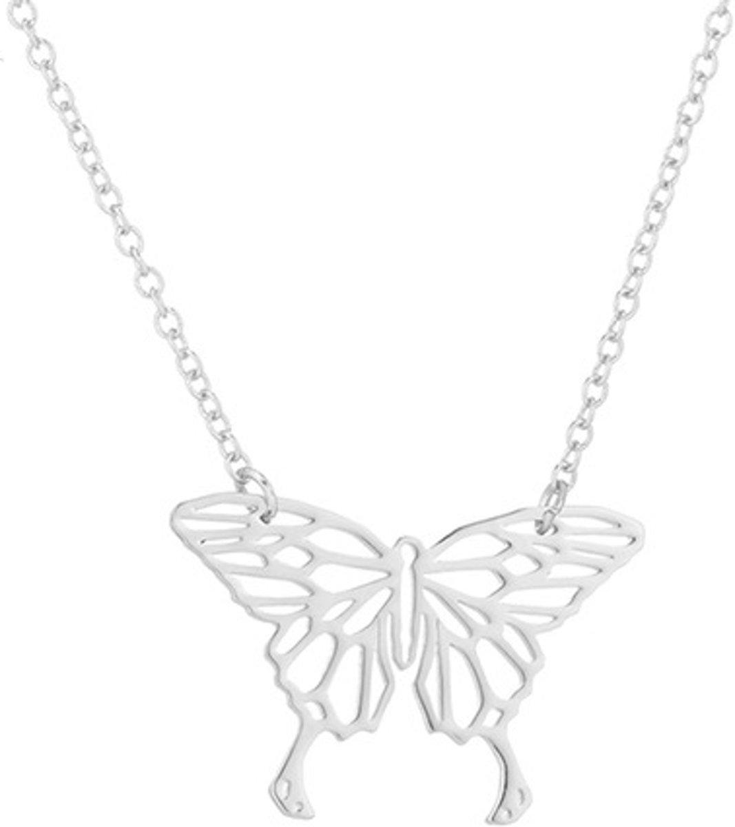 24/7 Jewelry Collection Origami Vlinder Ketting - Zilverkleurig kopen