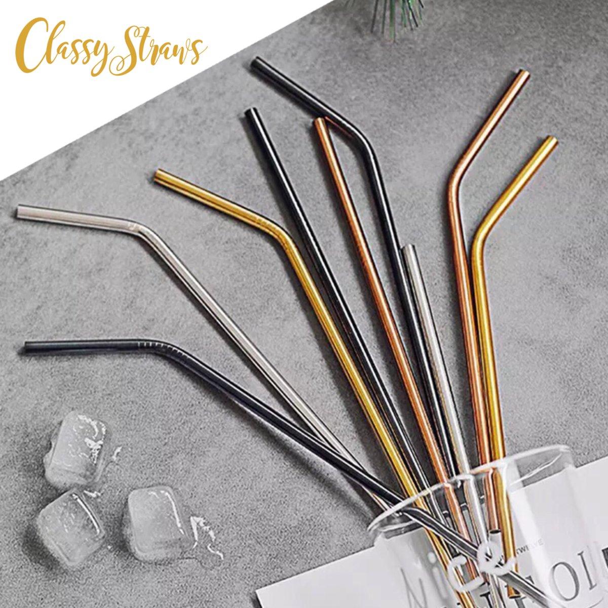 Classy Straws - Herbruikbare rietjes - 8 Rechte Roestvrijstalen Rietjes en 2 schoonmaakborstels in diverse kleuren in een beige bewaarzak - Milieuvriendelijk!