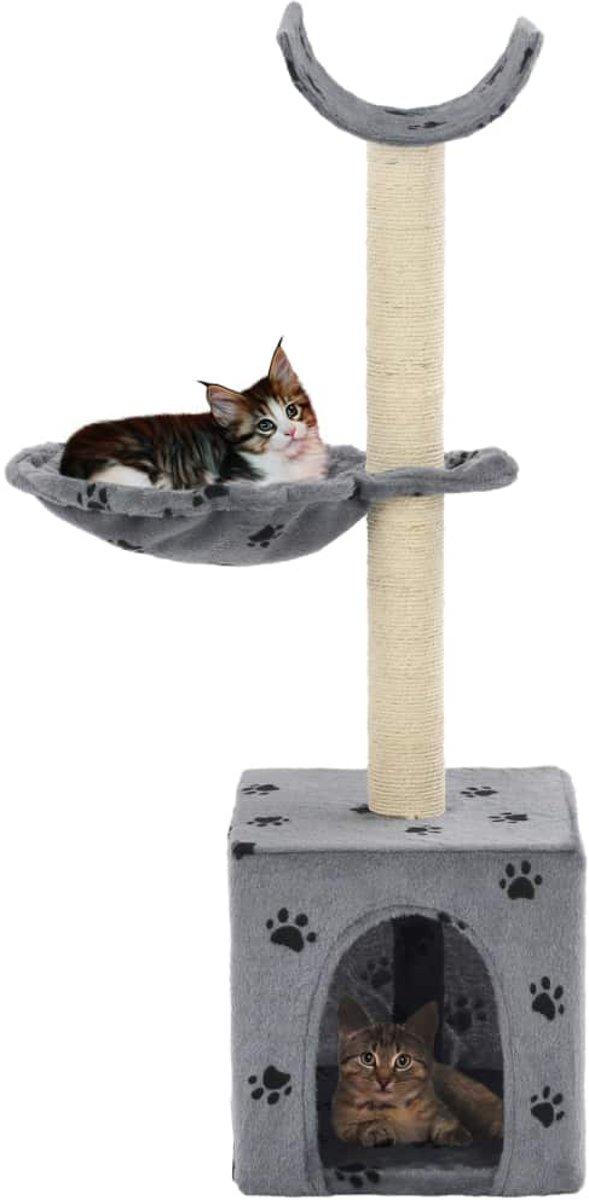 vidaXL Kattenkrabpaal met sisal krabpalen 105 cm pootafdrukken grijs