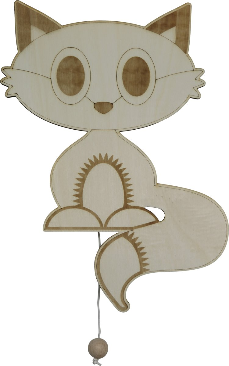 Houten muziekdoosje baby Foxy vos - Mozarts lullaby - Roozje