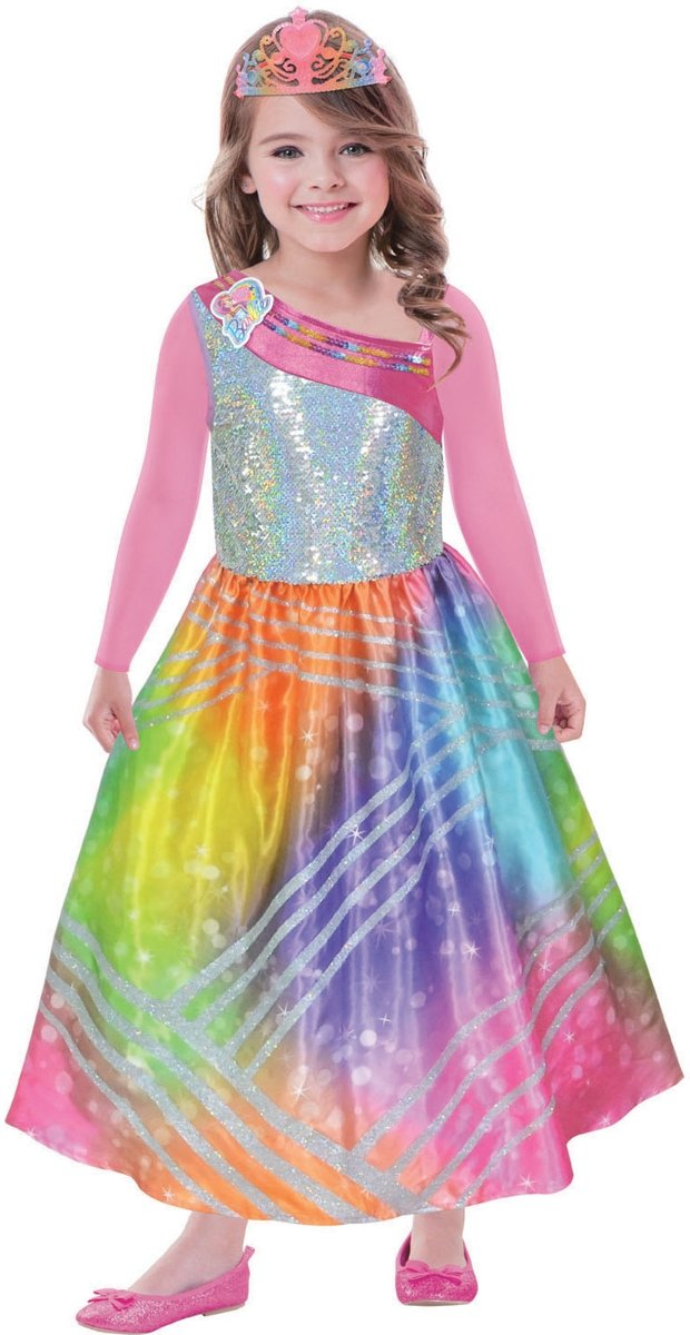 Children s Costume Barbie Rainbow Magic with pink sleeves and tiara 5-7 years