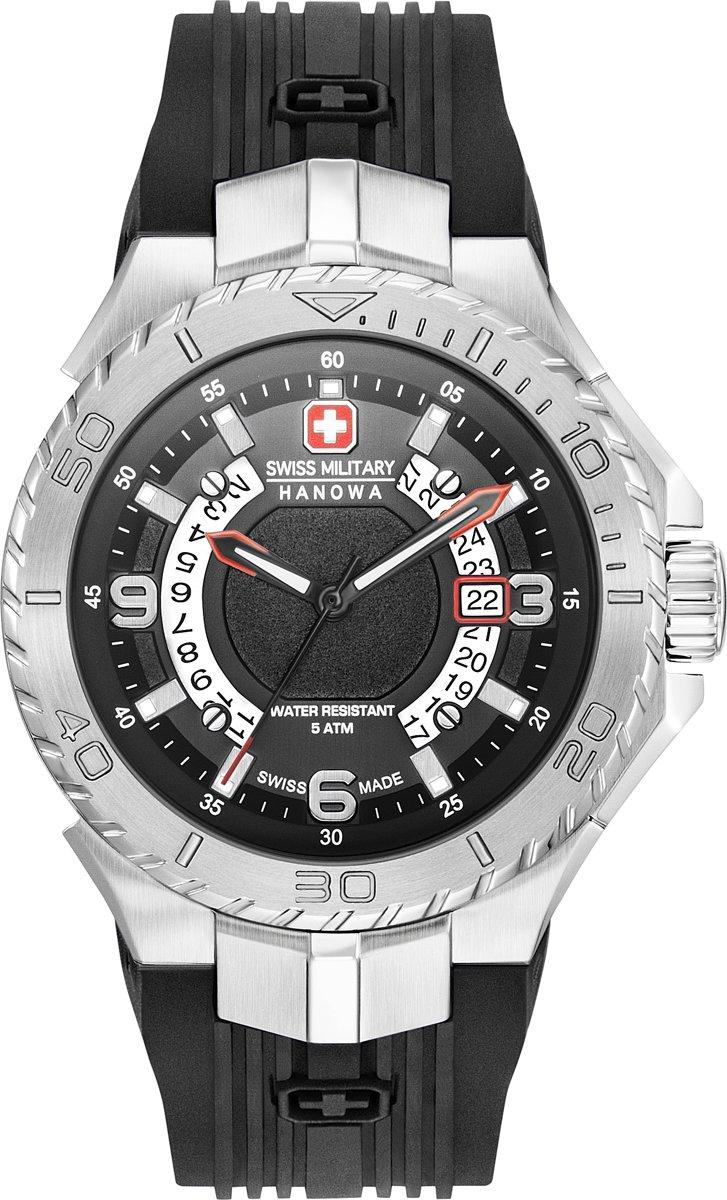 Swiss Military Hanowa 06 4327.04.007 quartz zwart siliconen band 5 ATM (douchen)