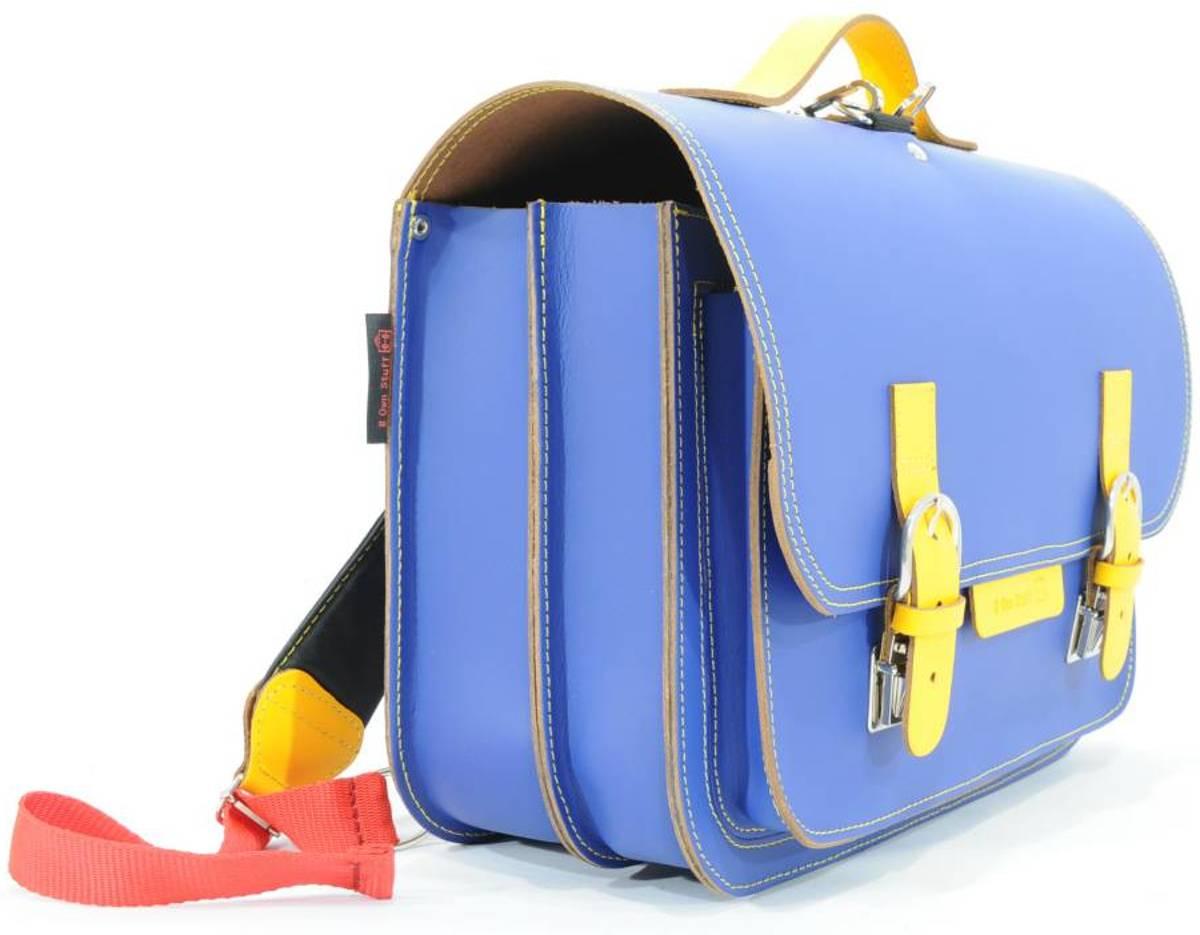 0ee91a76425 bol.com   Lederen boekentas / boekentas cobalt blauw met geel   Own Stuff