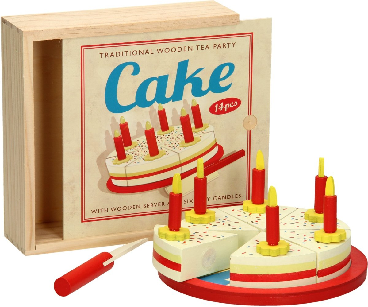 Houten Snijtaart in kist snij taartje taart hout