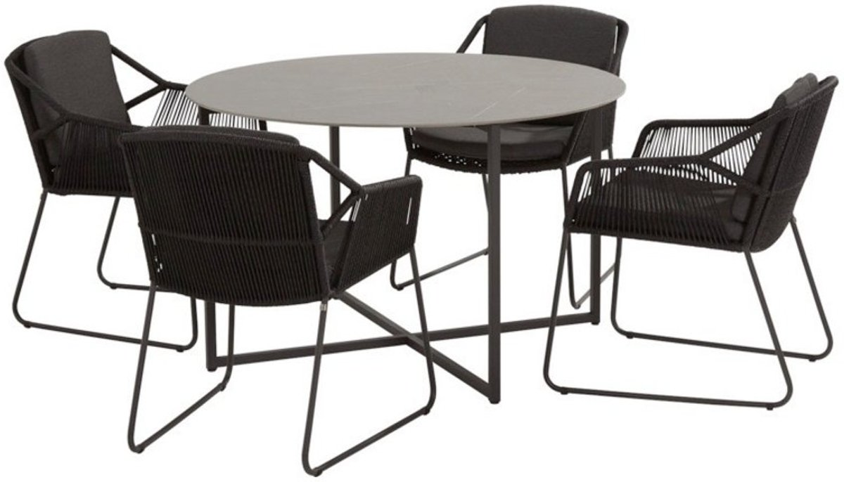 Accor Quatro dining tuinset 5-delig 120cm rond  4 Seasons Outdoor