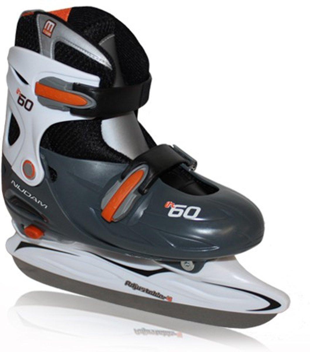 Nijdam IJshockeyschaats Junior - Verstelbaar - oranje/zwart - Maat 30-33 kopen