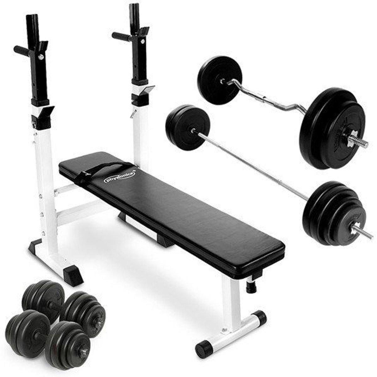 Powerlift bank - halterstang - Dumbells - Curlstang - Gewichten 109 kG kopen