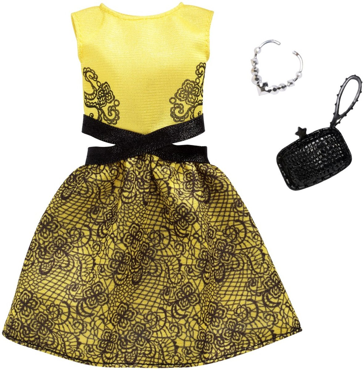 Barbie - Complete Looks Fashion - Yellow and Black Dress (FXJ08)