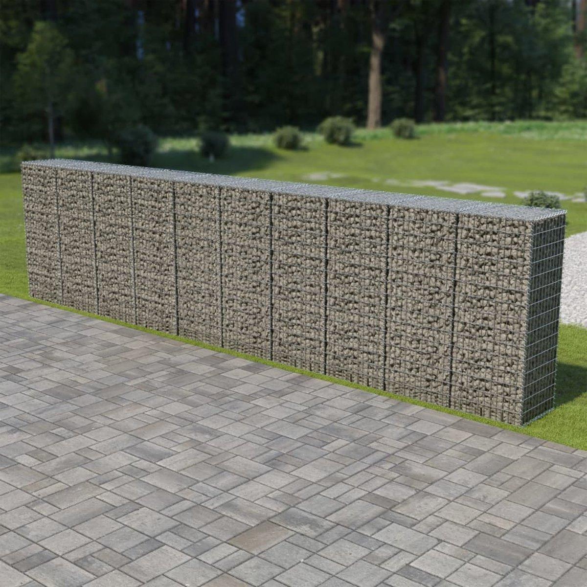 Schanskorfmuur met deksels 600x50x150 cm gegalvaniseerd staal (incl. tyraps)